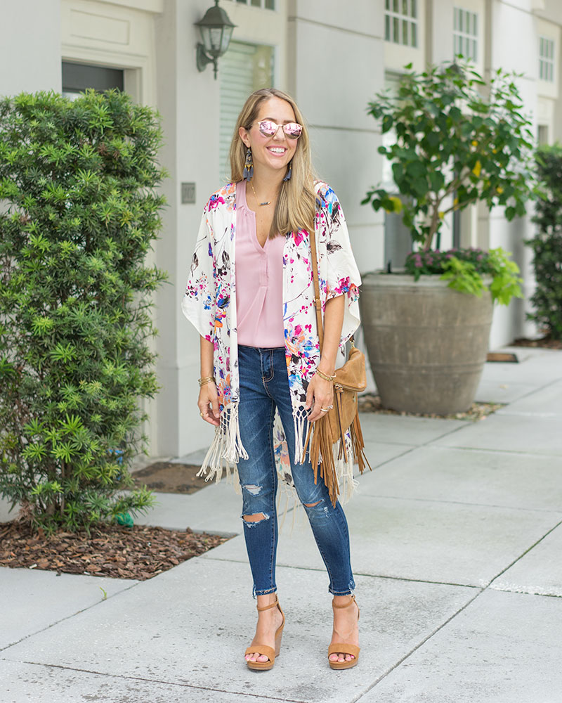 Floral kimono, skinny jeans, wedges