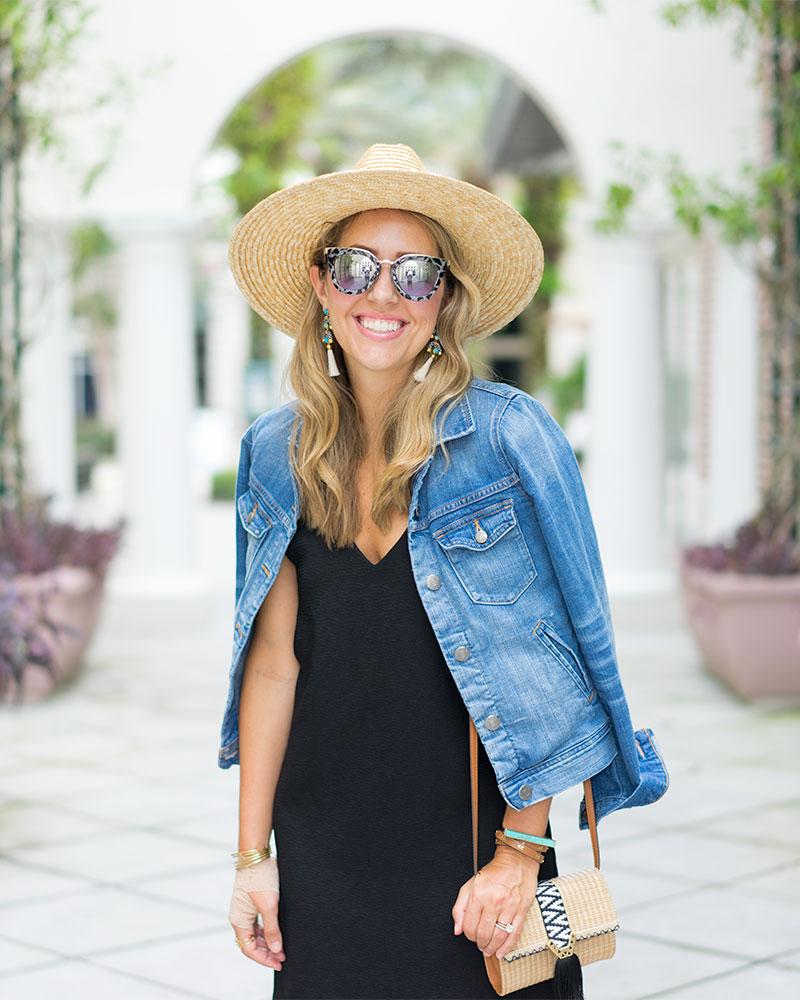 Denim jacket, black dress, straw hat