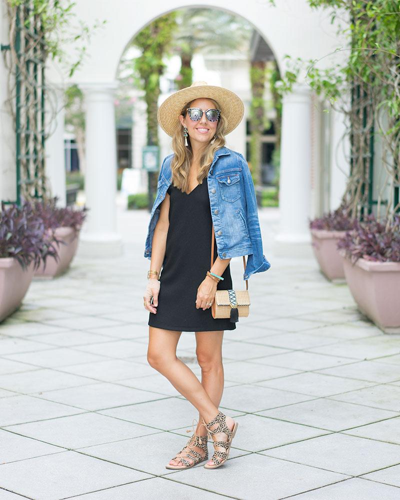 Denim jacket, black dress, straw hat, leopard sandals