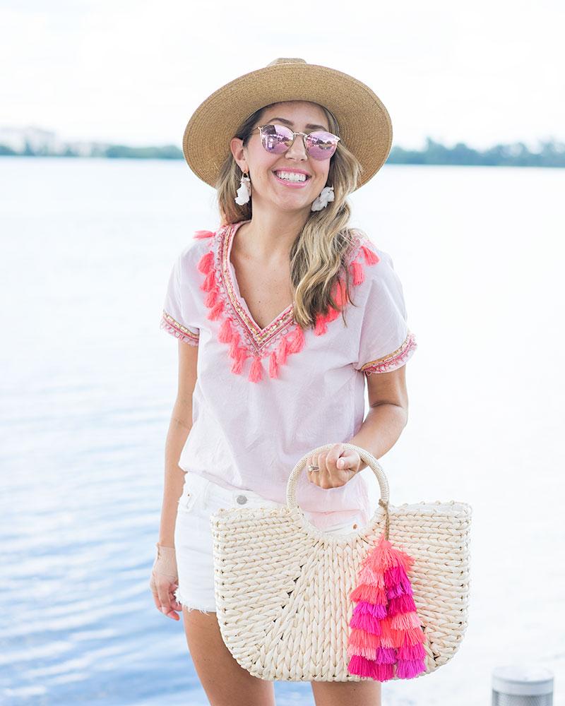 J.Crew tassel top, straw bag with pink tassel
