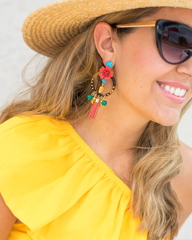 Yellow ruffle top, J.Crew statement earrings