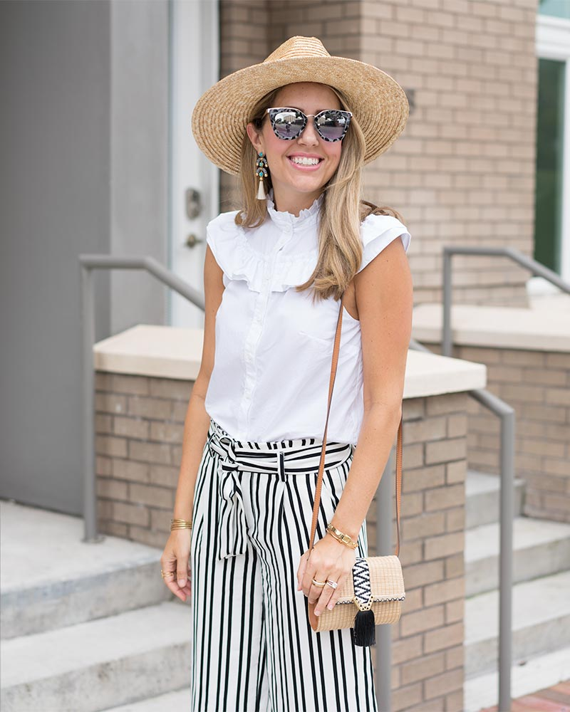 White ruffle button up, Banana Republic stripe pants, straw purse