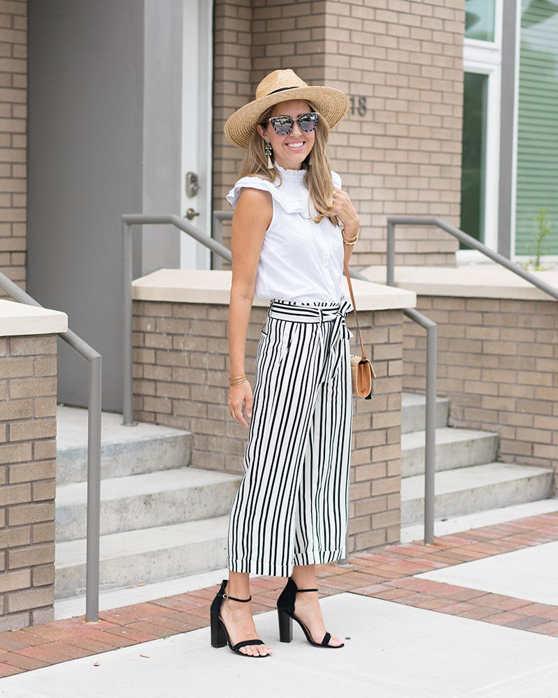 White ruffle button up, Banana Republic stripe pants