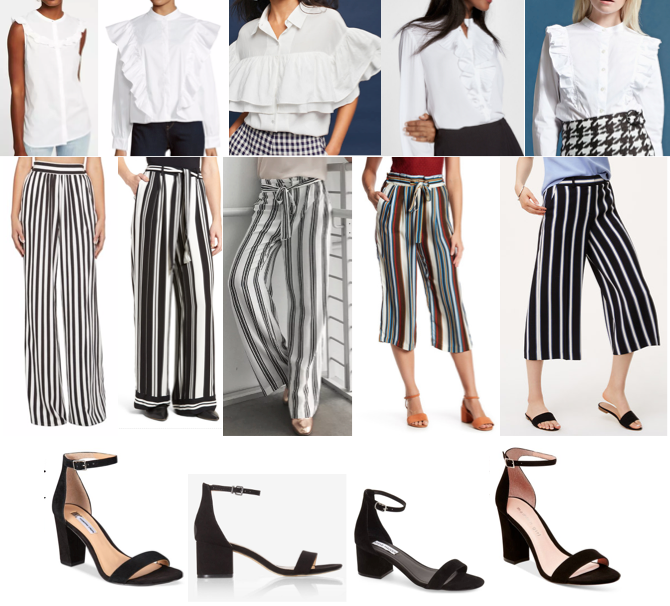 Ruffle white top, stripe pants, black block sandals