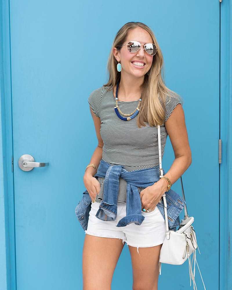 Stripe top, cobalt jewelry, white shorts, denim jacket