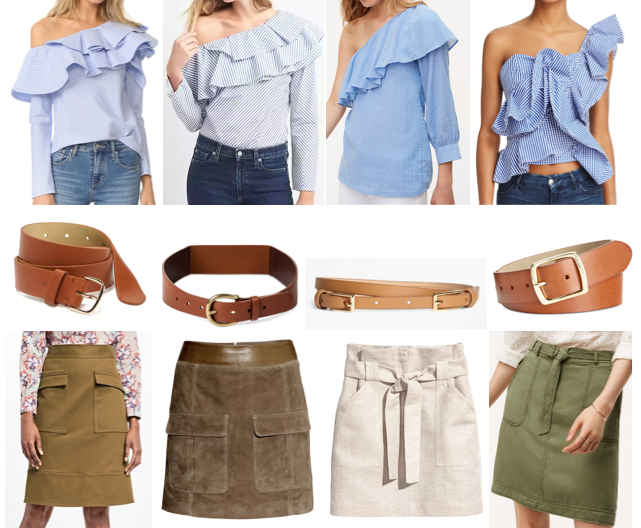 Blue ruffle tops + military skirts