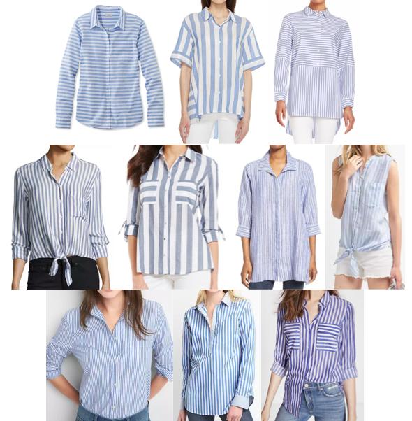 Blue stripe shirts on a budget