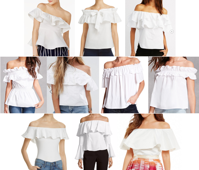 White ruffle off shoulder tops