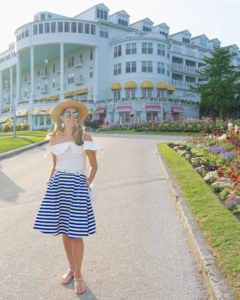 The Grand Hotel, Mackinac Island - White ruffle top, blue stripe skirt