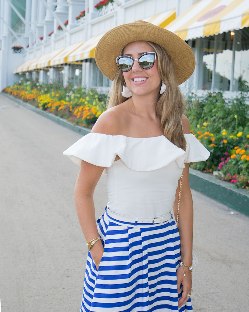 Mackinac Island outfit - White ruffle top, blue stripe skirt