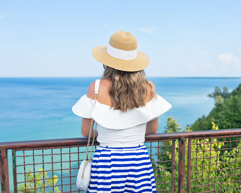 Mackinac Island - White ruffle top, blue stripe skirt