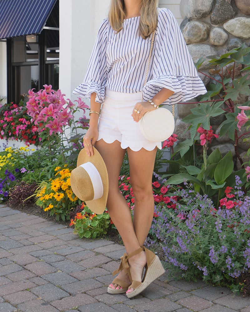 Ruffle sleeve stripe top, scallop shorts, sun hat