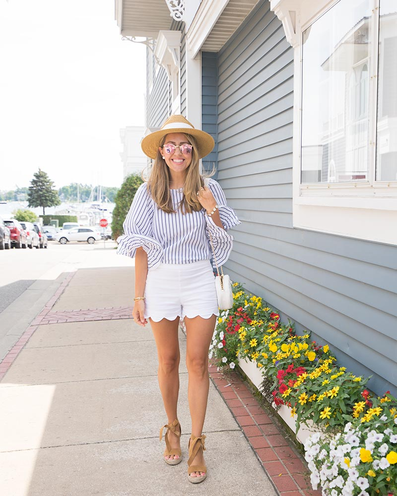 Harbor Springs, Michigan - ruffle sleeve stripe top, scallop shorts, sun hat