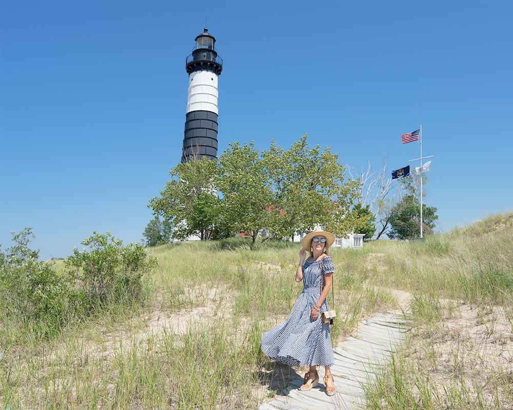 Big Sable Lighthouse - gingham dress outfit