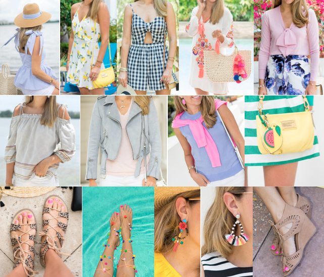 1.  Blue Bow top  = $35 2.  Straw Hat  = $15 3.  Lemon Dress  = $20 4.  Romper  = $25 5.  Coverup  = $20 6.  Straw Bag  = $25 7.  Bag Charm  = $14 8.  Pink Bow Sweater  = $7 9.  off shoulder top  = $33 10.  Gray Moto Jacket  = $59  11.  Periwinkle shell  = $17 12.  Fruit Bag Charms  = $22 + $6 13.  Leopard Sandals  = $20 14.  Pom Poms  = $13 15.  Earrings  = $43 16.  Earrings  = $32 17.  Wedges  = $20 18.  Black Earrings  = $9 (not pictured) 19. Paris Jacket = $99 (Not Pictured) 20. Paris jacket = $69 (Not pictured) Total = $603