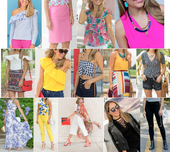 1. Pink earrings = $15 2. Blue ruffle top = $34 3. Pink Pencil skirt = $30 4. Pineapple top = $39 5. Hot Pink Top = $25 6. White ruffle top = $35 7. Embroidered skirt = $60 8. Yelow Ruffle top = $39 9. Gingham top = $20 10. Turquoise necklace = $30 11. Mustard top = $24 12. Pleated skirt = $48 13. Wrap top = $19 14. Denim shorts = $38 15. Maxi dress = $158 16. Lemon Top = $33 17. Yellow pants = $42 18. Floral Kimono = $17 19. Studded jacket = $99 20. Sunglasses = $25 21. Black jeans = $41 Total = $871