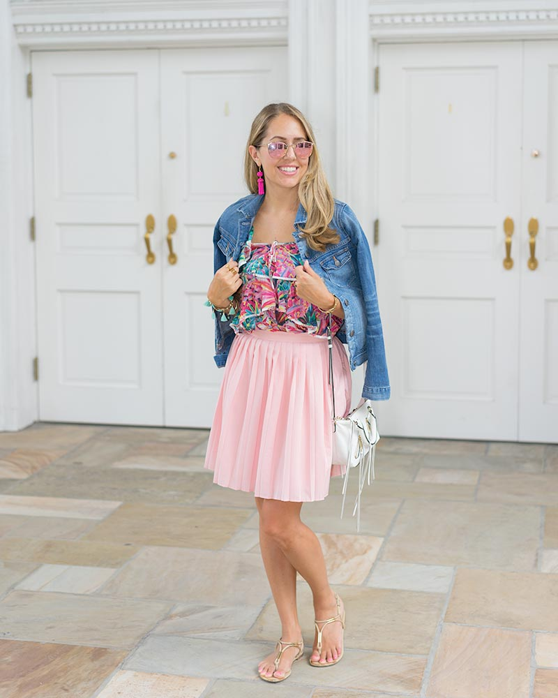 Denim jacket, pink skirt, pineapple print