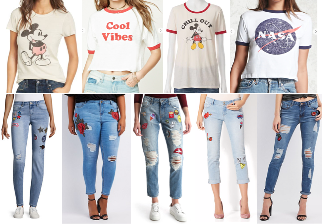 Graphic tees and patch jeans