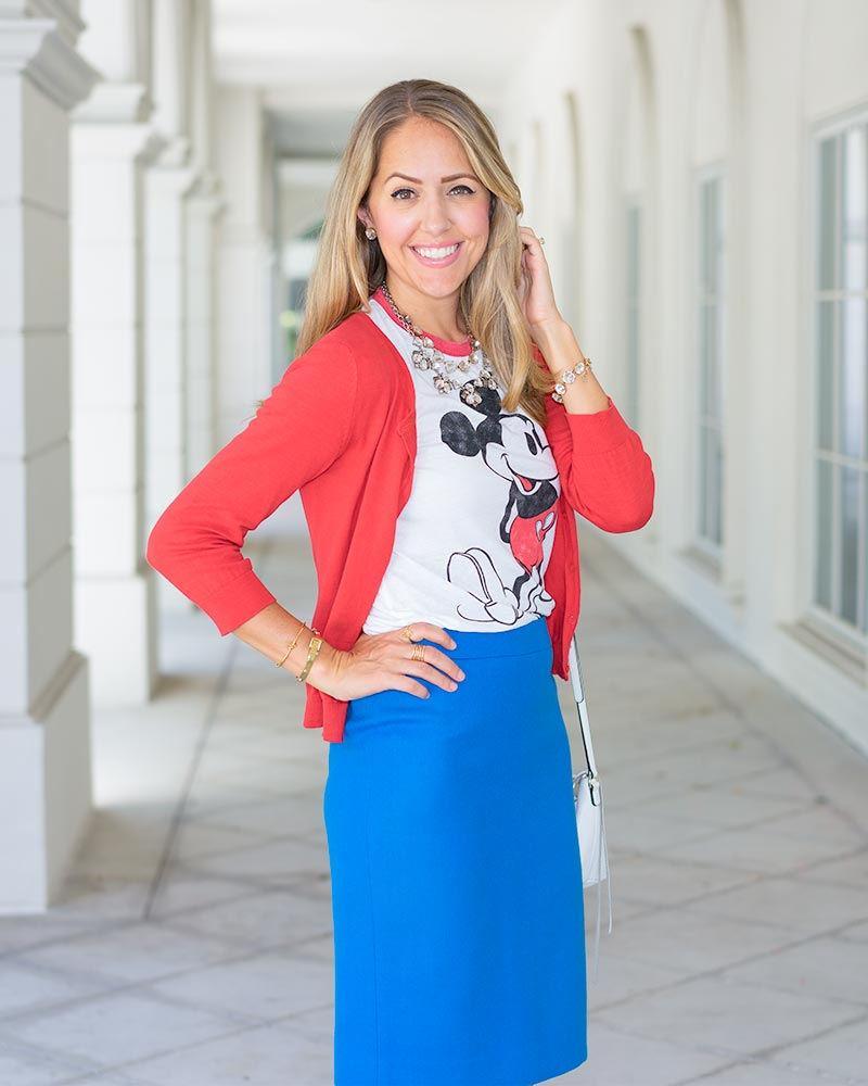 Mickey Mouse tee with pencil skirts