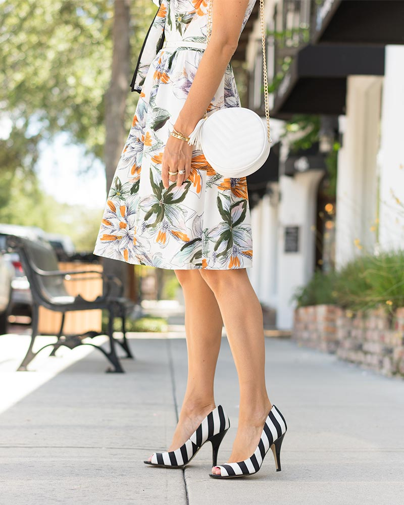 Lark and Ro dress, striped heels