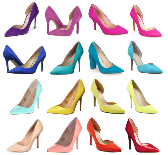 Colorful rainbow heels