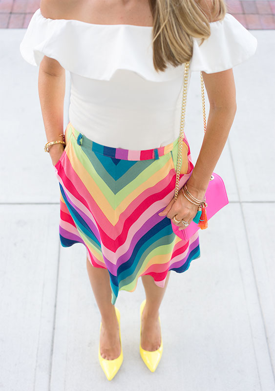 Colorful outfit: rainbow skirt