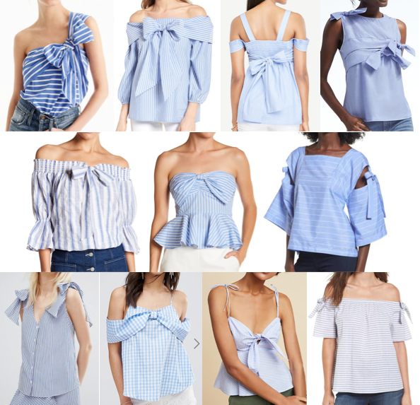 Blue bow tops