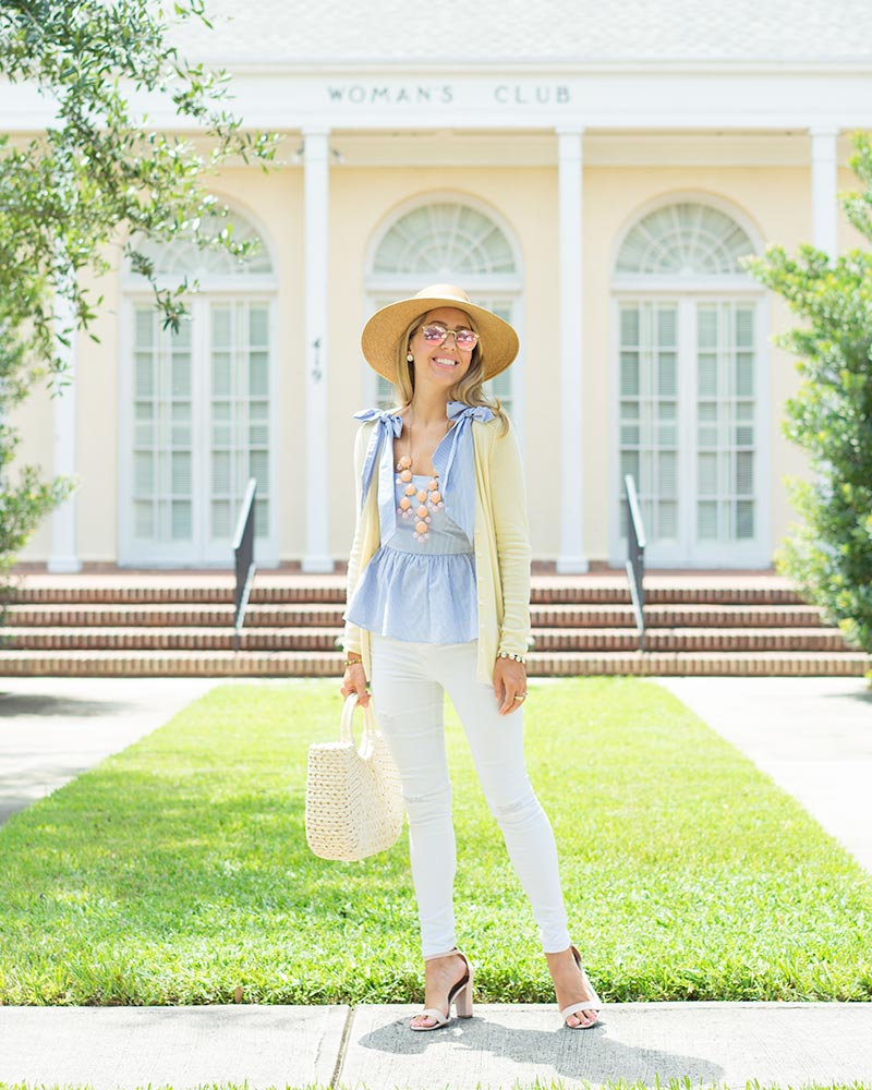Blue bow top, bubble necklace, white jeans