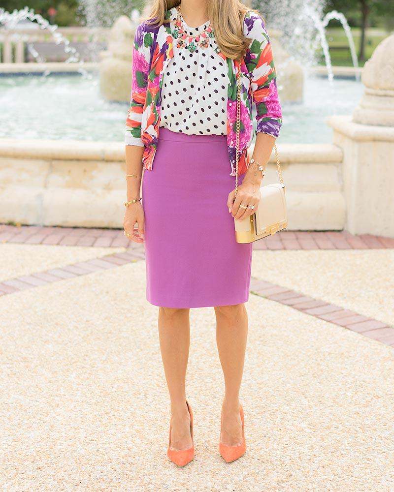 thredUP floral cardigan, purple pencil skirt, orange heels