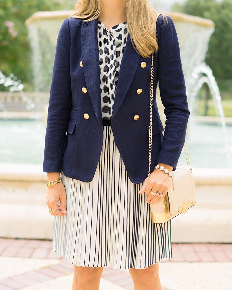 thredUP navy blazer, polka dot, pleated skirt