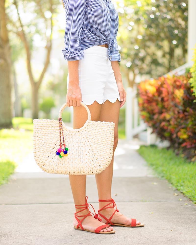 Gingham, white shorts, statement earrings