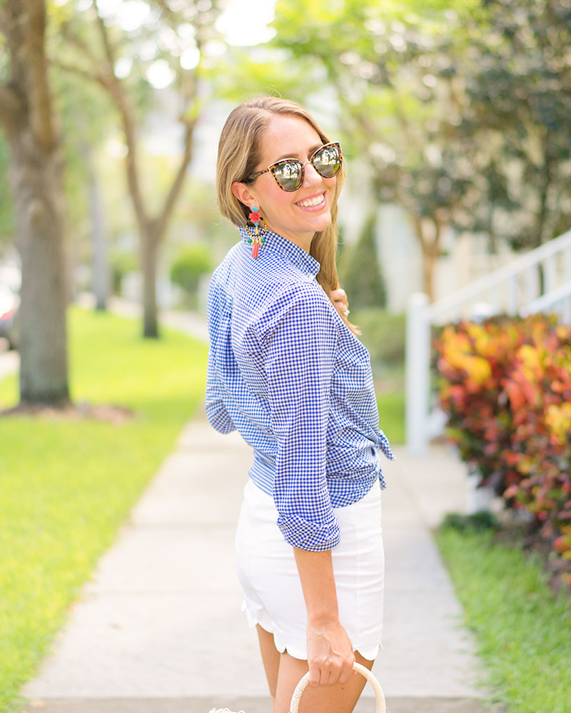 Gingham, white shorts, statement earrings