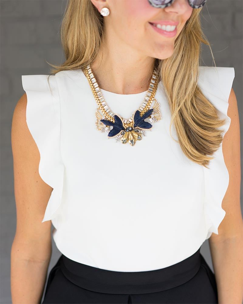 White ruffle top, Monroe statement necklace