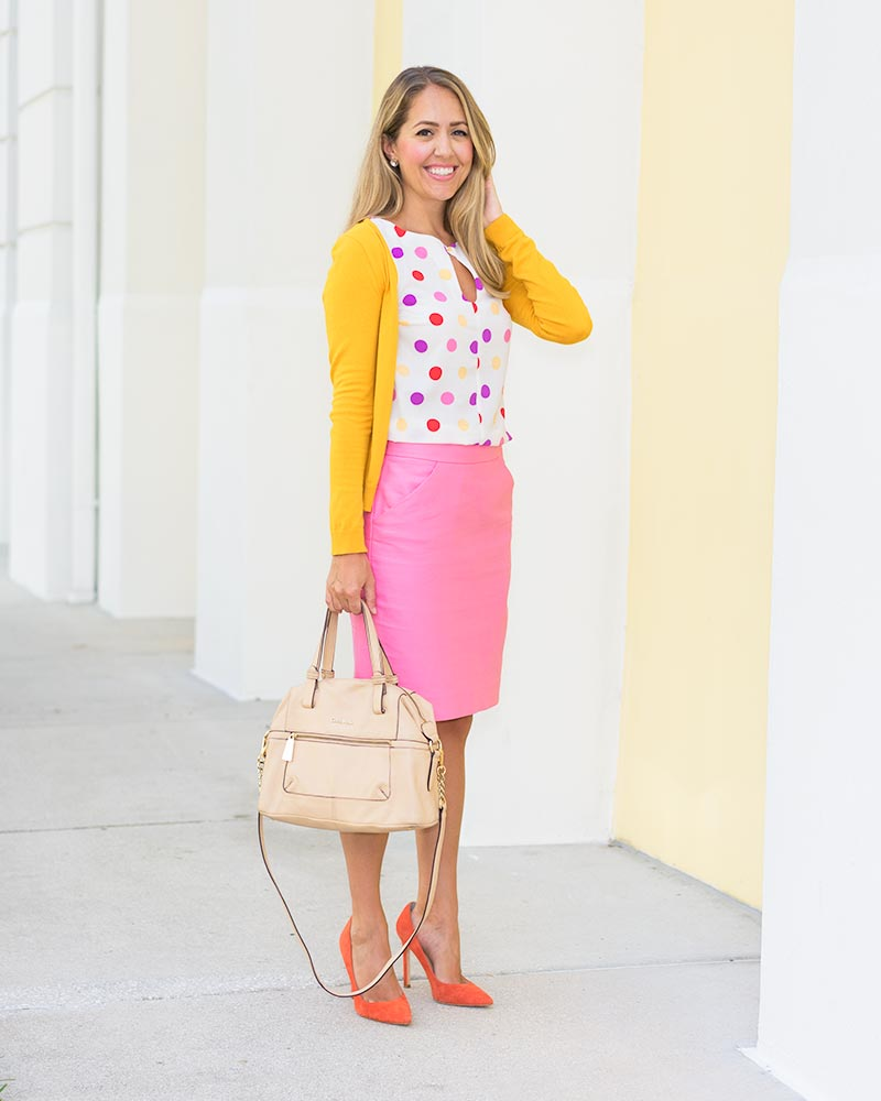 Mustard cardigan, polka dots, pink pencil skirt, orange heels