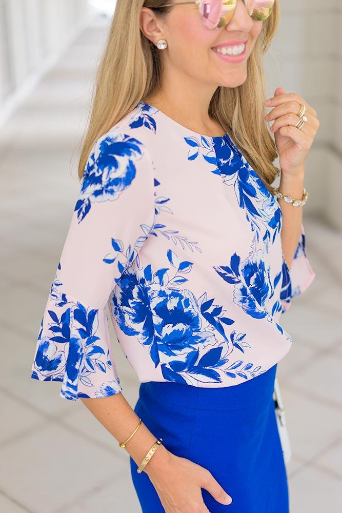 Lark & Ro floral bell sleeve