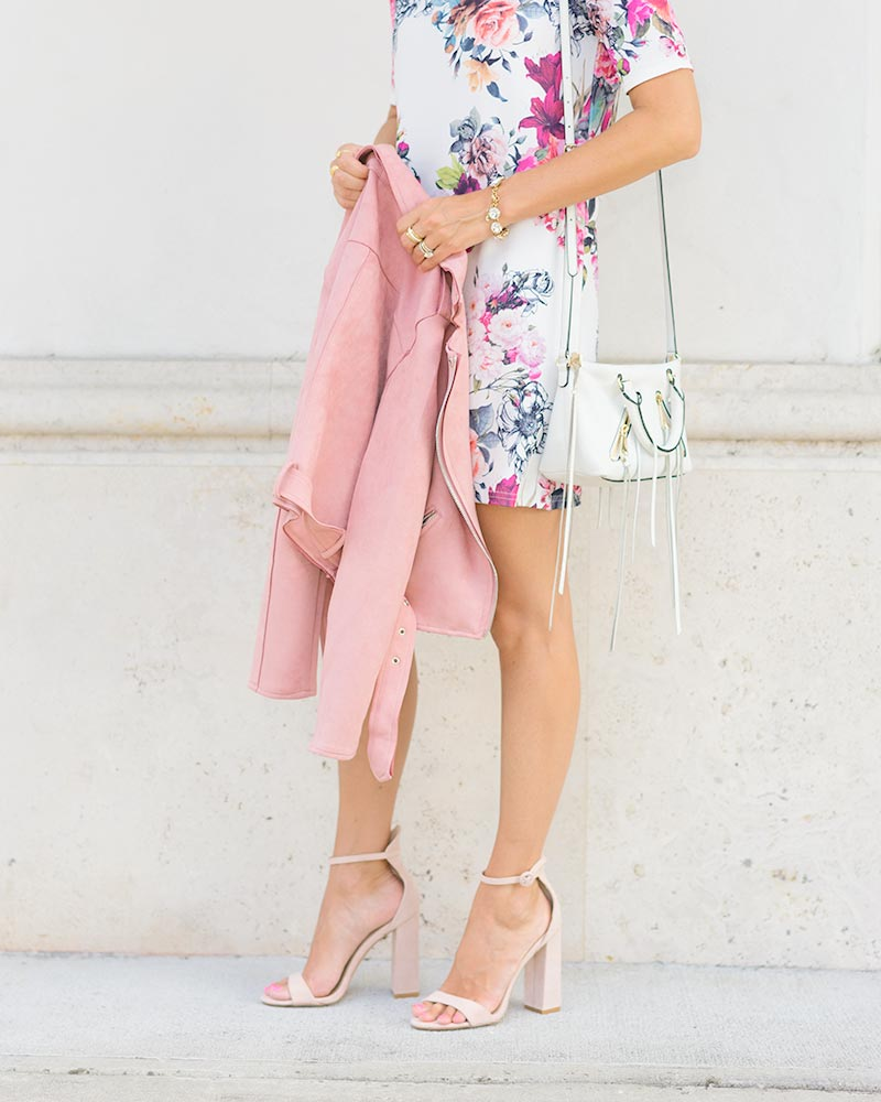 blush moto jacket, floral dress