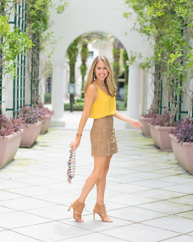 Suede skirt, mustard top