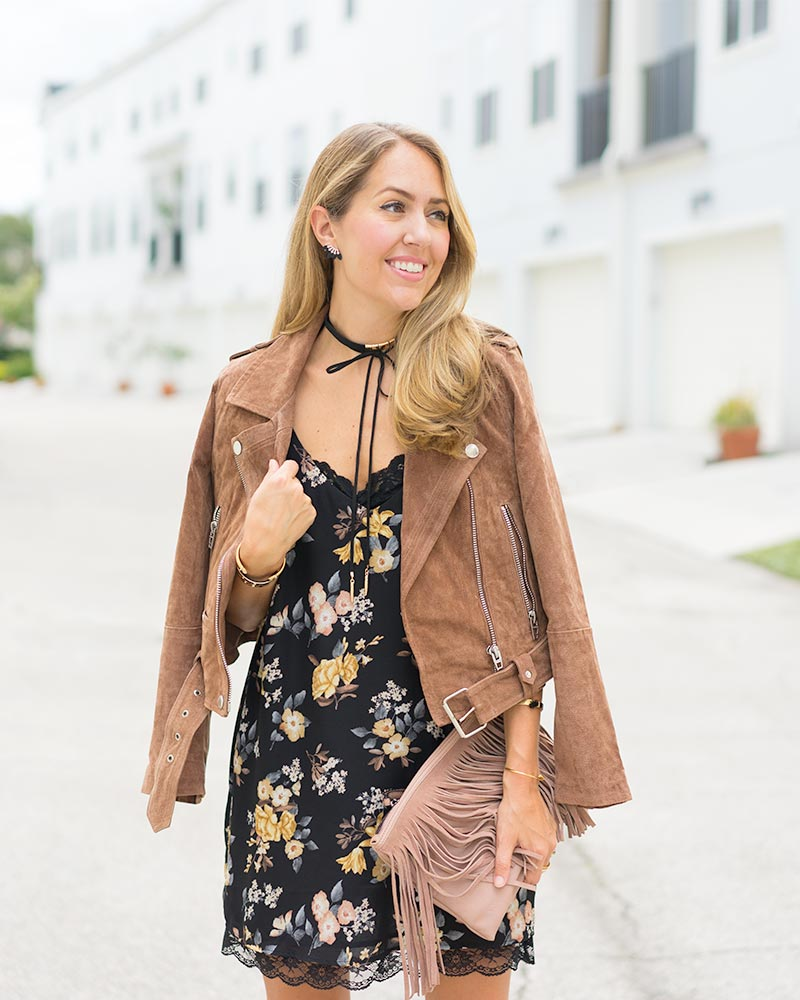 Suede jacket, floral slip dress, choker