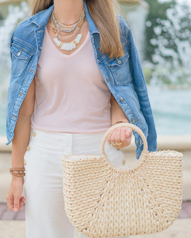 denim jacket, linen pants, straw bag