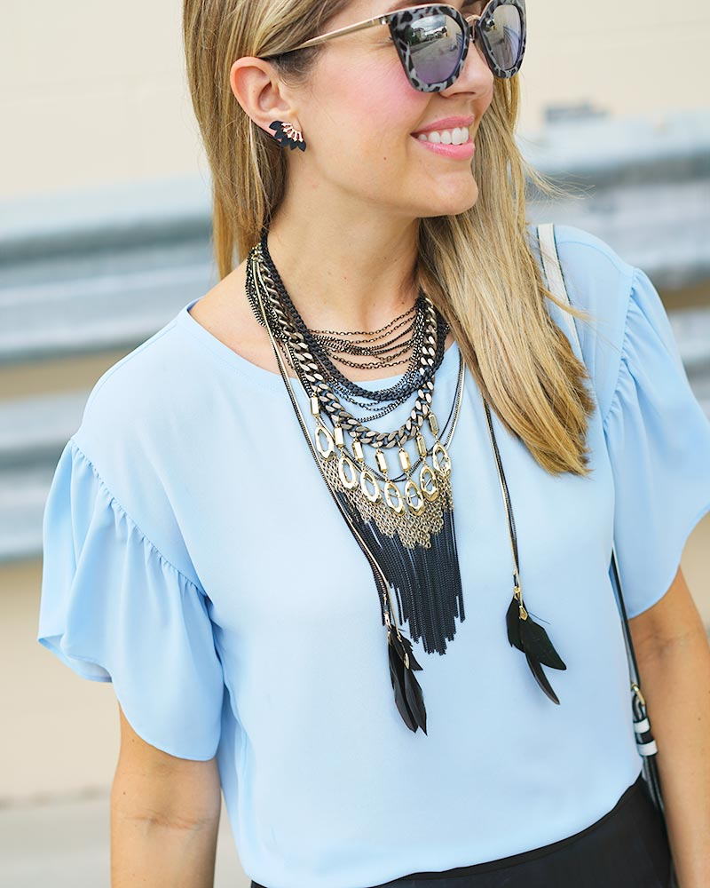 black statement feather necklace