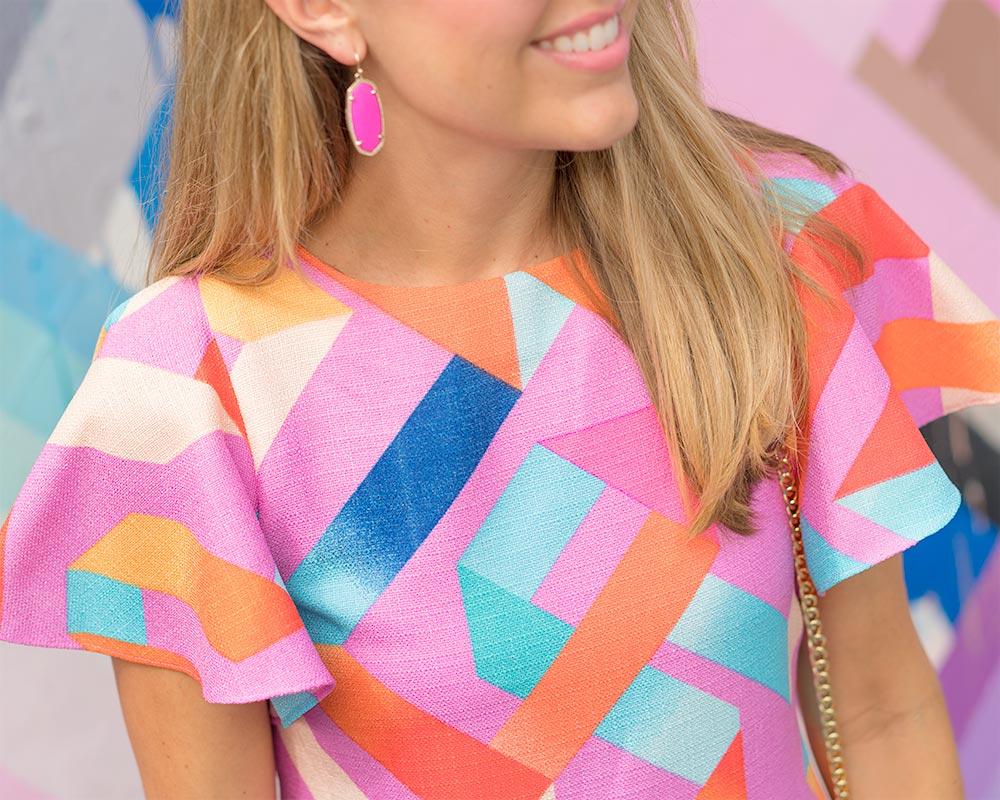 Wynwood Walls colorful dress, Kendra Scott earrings