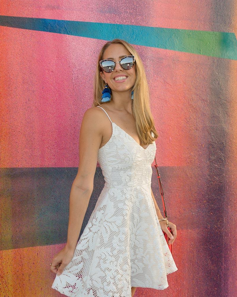 White sundress, tassel earrings