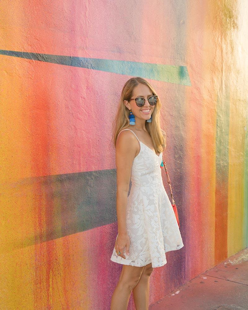 White sundress, tassel earrings