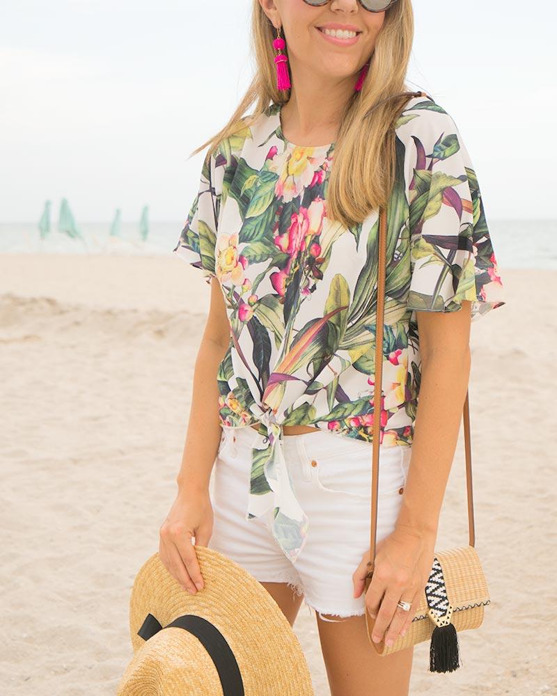 Palm print, white shorts, South Beach