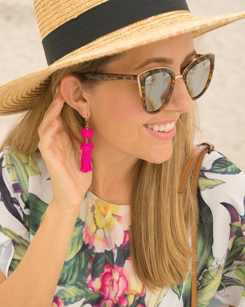Palm print, pink earrings