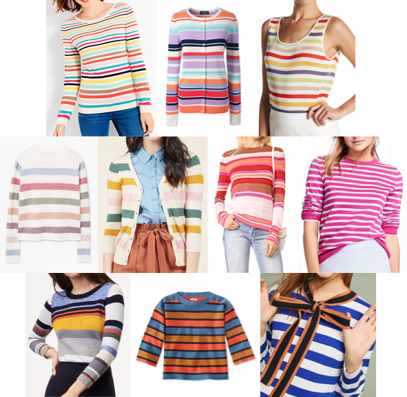 Rainbow stripe sweaters on a budget