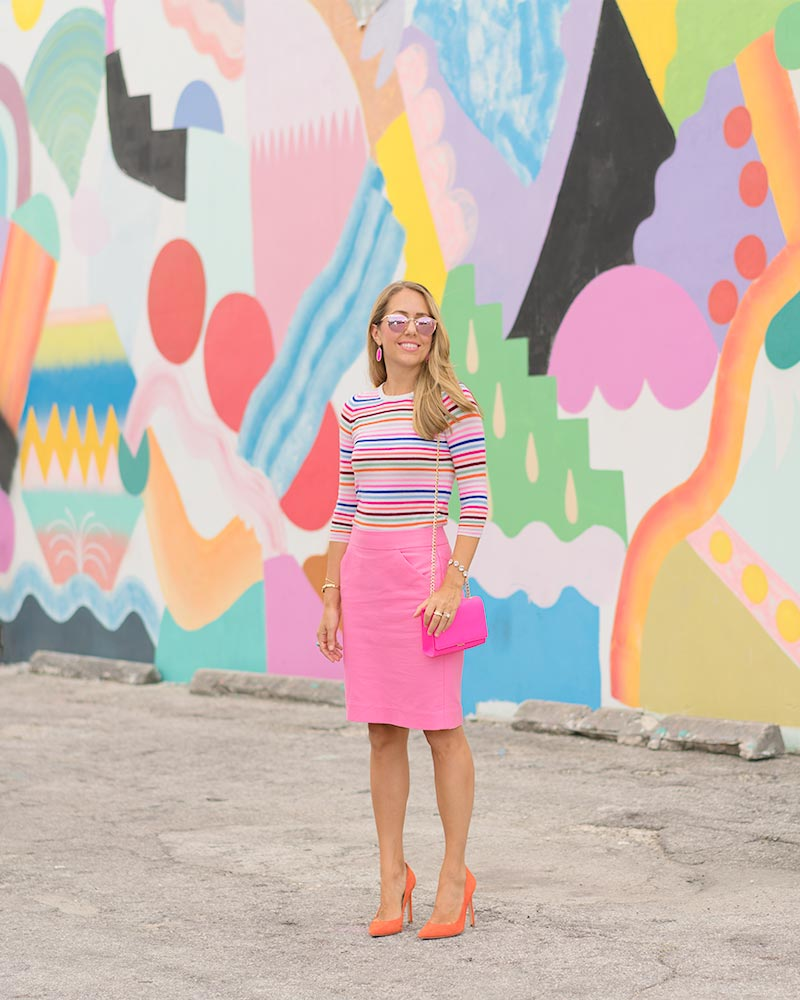 Pink pencil skirt, rainbow stripe sweater