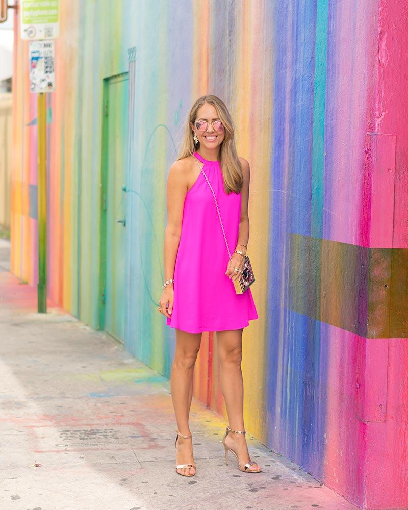 Neon pink dress, Wynwood Walls