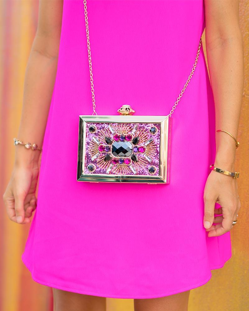Neon pink dress, Aldo jeweled clutch
