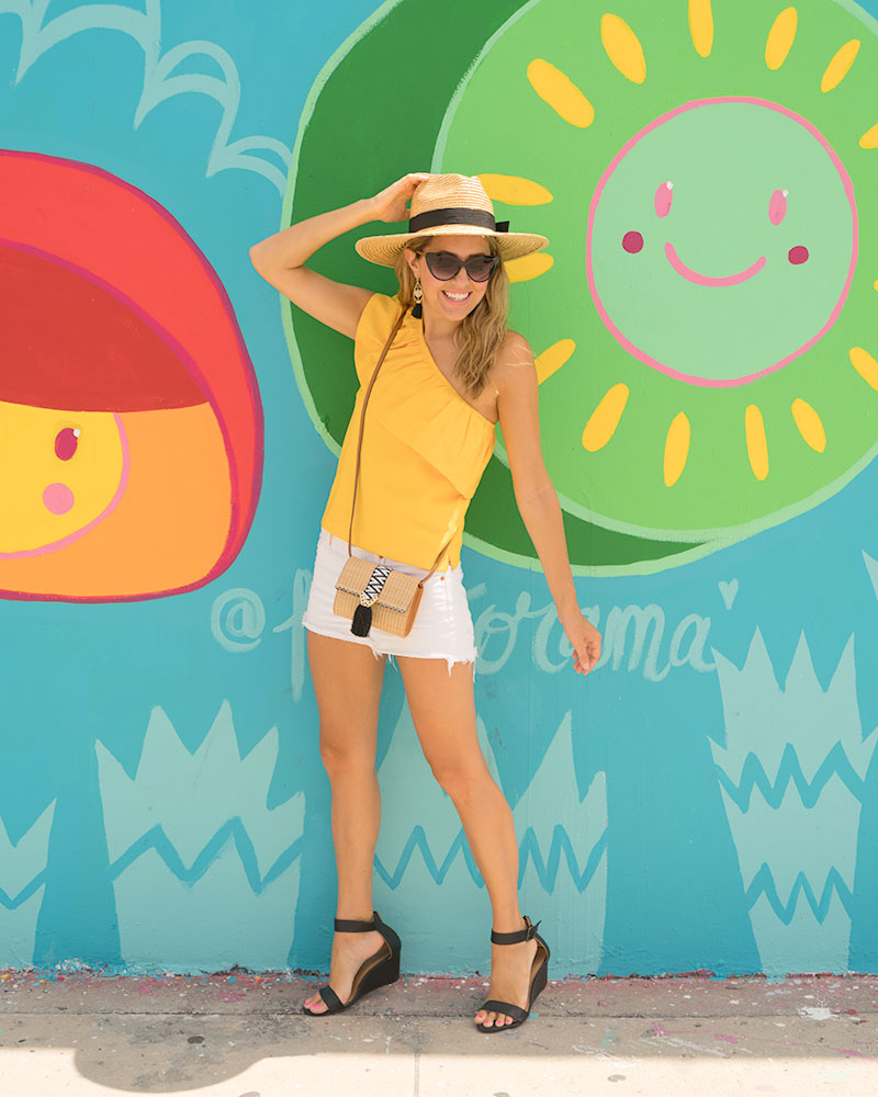 Yellow one shoulder top, Wynwood Walls